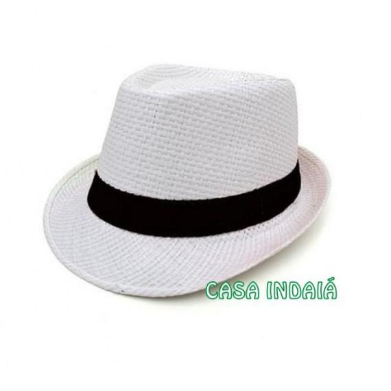 Chapéu Trickster Branco c/ Fita Preta