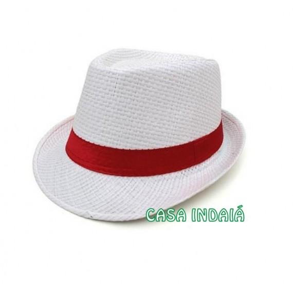 Chapéu Trickster Branco c/ Fita Vermelha