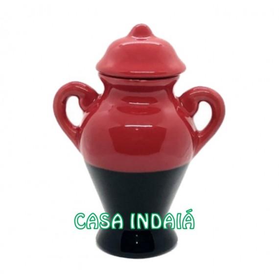 Quartinha 20 cm Bicolor Vermelha e Preta c/ Asa