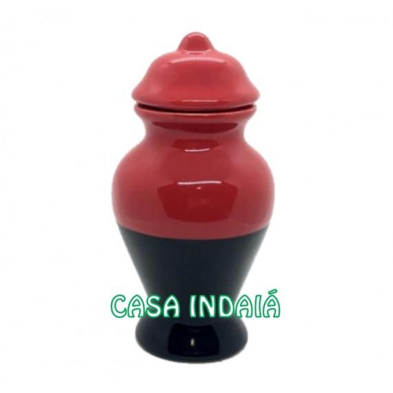 Quartinha 20 cm Bicolor Vermelha e Preta s/ Asa